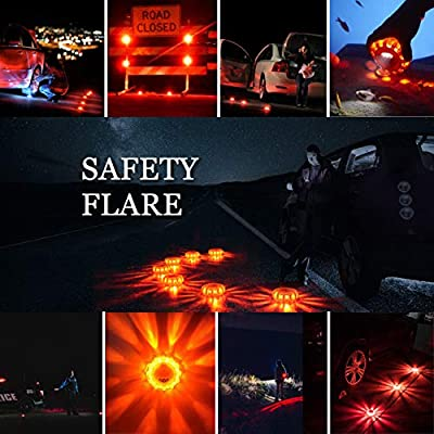 Tobfit 12 Pack LED Road Flares Emergency Lights Roadside Safety Beacon Disc Flashing Warning Flare Kit with Magnetic Base & Hook for Car Truck Boats | 9 Flash Modes (Batteries Not Included) (12): Automotive