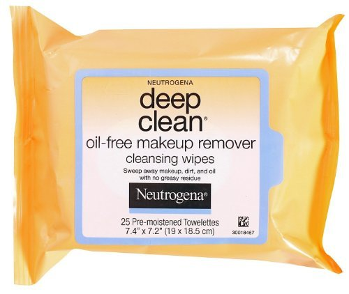 Neutrogena Deep Clean Oil Free Makeup Remover Cleansing Wipes, 25 Count ( Case of 6 )