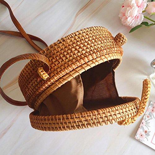 paille pour sac tissé Rotin la de main Style de la Vintage Bohême Crossbody sac rond Bag rangement plage à Oshide de Straw les Bow mode sac femmes à OAa644
