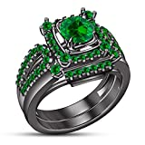 TVS-JEWELS Green Sapphire Gemstone 925 Silver Black Rhodium Plated Bridal Ring Wedding Engagement Set (7)