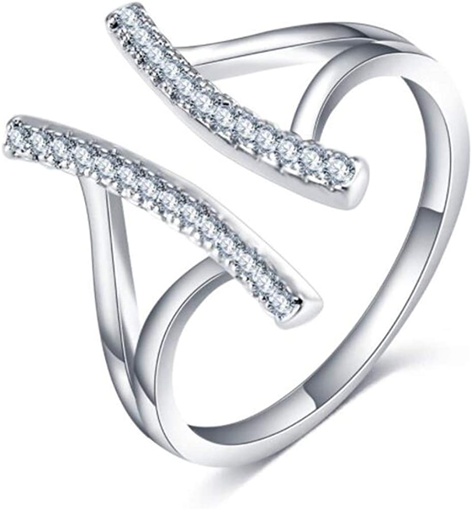 Clear Cubic Zirconia Two Bars Adjustable Band Ring Sterling Silver