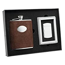 Visol Cowboy Brown Leather Flask and Fireball Silver Cigarette Lighter Set