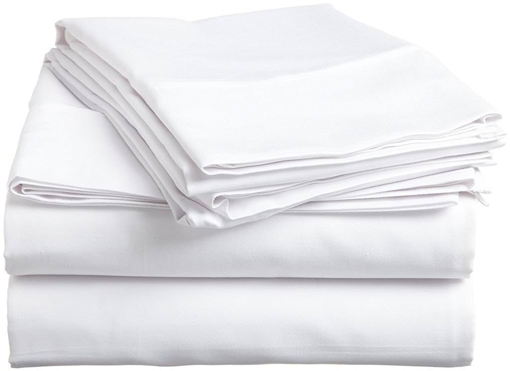 """Linenwala 4 PC Bedding Sheet Set 6"""" Deep Pocket 400 TC 100% Cotton for RV- Trucks, Campers, Airstream, Bus, Boat and motorhomes Easy to fit in RV-Mattress RV Twin 38""""X75"""" White Solid"""