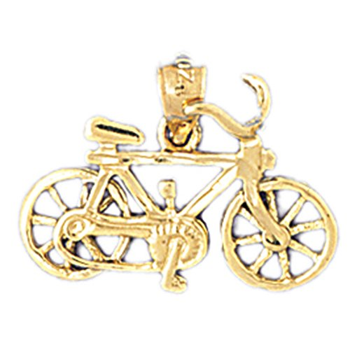 14K Yellow Gold Bicycle Pendant - 15 mm