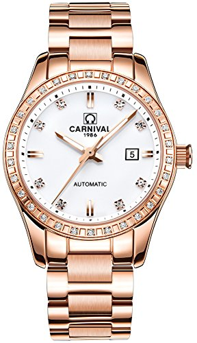 Womens Analog Luminous and Bezel Inlay Rhinestones Fashion Automatic Mechanical Calendar Female Watch (White)