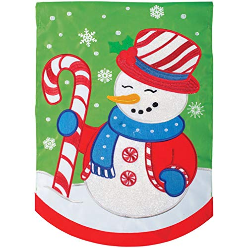 (Carson Applique Garden Flag - Peppermint Snowman)