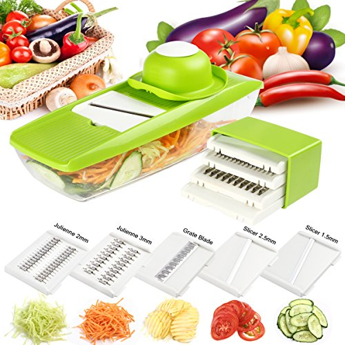 Mandoline Slicer, Angel Love Multifunctional Vegetable Peeler Slicer with 5 Interchangeable Stainless Steel Blades, Multipurpose Kitchen Dicer for Multi Vegetable, Fruit, Cheese, Onion - Multi Slicer