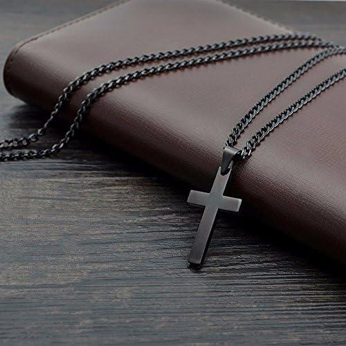 Cikuso Vintage Croix Pendentif Collier en Acier Inoxydable Chaine Noire Pendentif Collier Hommes Collier 60cm