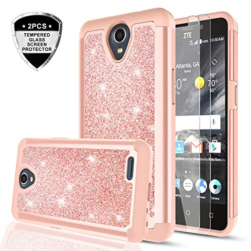 ZTE Prestige 2/ Maven 3/ Overture 3/ Prelude Plus Case with [2 Pack] Tempered Glass Screen Protector for Girls Women,LeYi Glitter [PC Silicone Leather] Dual Layer Phone Case for ZTE N9136 TP Rose Gold