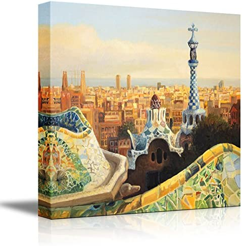 Beautiful Landscape Barcelona Park Guell Terrace at Dusk Oil Painting Style Wall Decor