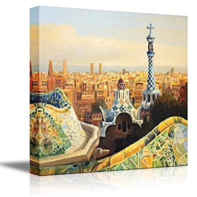 Beautiful Landscape Barcelona Park Guell Terrace at Dusk Oil Painting Style - Canvas Art Wall Art - 24