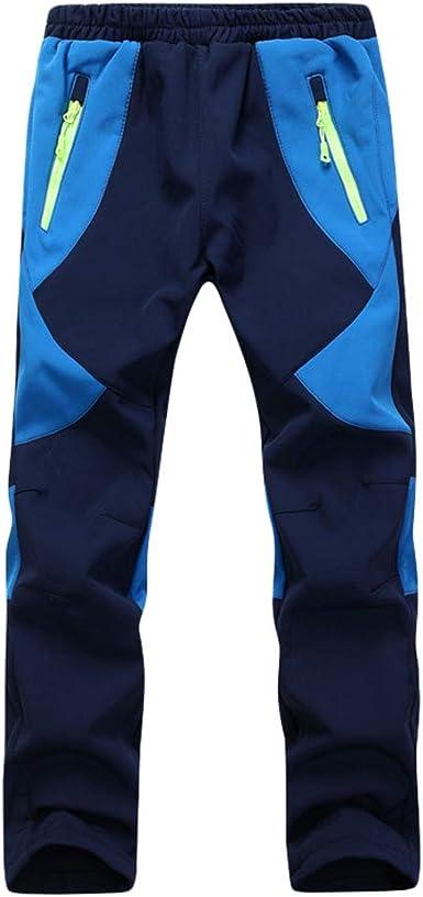 Yuanu Pantalón Softshell Niño Niña Impermeable A Prueba De Viento Forro Polar Pantalones Al Aire Libre para Caminar Excursionismo Alpinismo Bolsillo ...