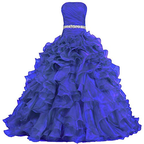 Lang Quinceanera Rüschen Organza mit A Linie Abendkleider Ballkleider Kleid Damen Königsblau dwFEnqC