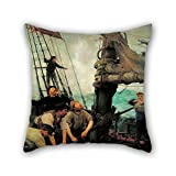 Bestseason Oil Painting Henry Scott Tuke - All Hands To The Pumps Throw Pillow Covers ,best For Him,saloon,teens Girls,home Theater,bench,shop 18 X 18 Inches / 45 By 45 Cm(2 Sides)