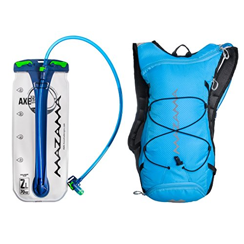 Hydration Reservoir Pack – 2 or 3 Liter Water Bladder – Tasteless & BPA Free – Multifunction Kit – USA Made Film – Mazama – Tumalo (Blue 2L)