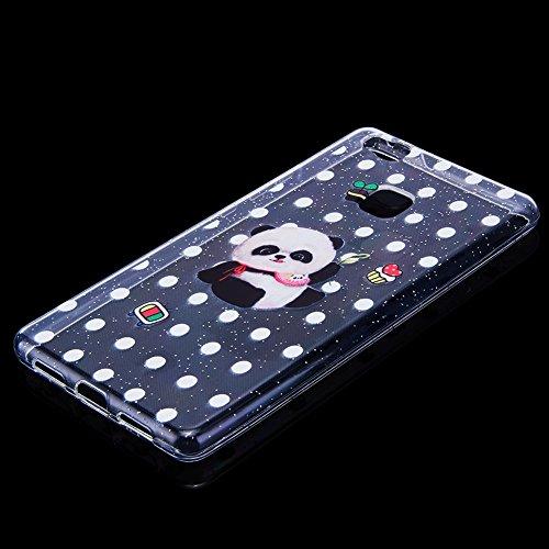 Coque P9 Mignon Motif de de Huawei Silicone Feuilles Soft Ekakashop Paillettes Strass Coque TPU étoiles Lite en coque Panda Ultra Huawei Lite Hibou Diamant Protection Transparente Gliter Mince pour P9 avec X8axw