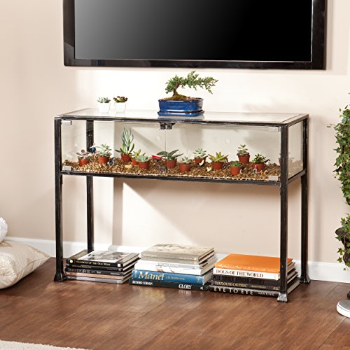 Terrarium Display Media Table - Glass Display for Plants - Black and Silver ()
