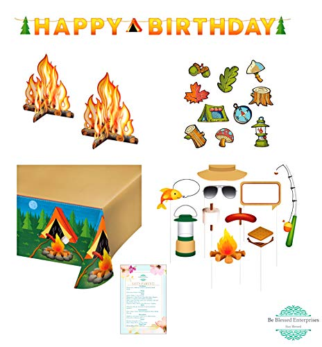 Camping Party Happy Birthday Decoration Pack- Centerpieces, Camping cutouts, Tablecover, Photo props, and birthday sign -