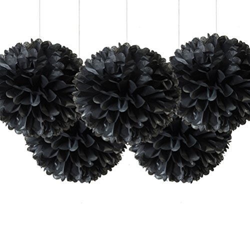 16 Black Tissue Pom Poms, Paper Flower Ceiling Hanging Party Decorations, Pack of 5