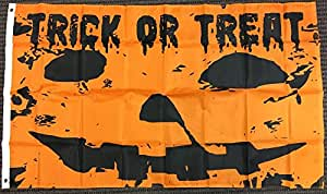 3x5 Trick or Treat Pumpkin Jack O Lantern Flag Happy Halloween Outdoor Banner Vivid Color and UV Fade Resistant Canvas Header and Double Stitched polyester materia