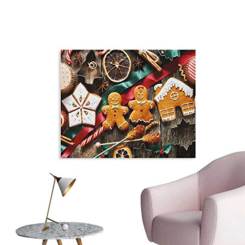 Homemade Wallpaper - Anzhutwelve Gingerbread Man Photographic Wallpaper Delicious Homemade Cookies Dried Fruits and Bakery Tools Festive Rustic Art Poster Multicolor W36 xL32