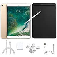 2017 New IPad Pro Bundle (5 Items): Apple 10.5 inch iPad Pro with Wi-Fi 512 GB Gold, Leather Sleeve Black, Apple Pencil, Mytrix USB Apple Lightning Cable and All-in-One Travel Charger