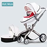 Hot Mom Baby Stroller 2017, 3 in 1 Function Travel System Baby Carriage and Bassinet Combo (White)