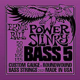 Ernie Ball 5-String Power Slinky Nickel Wound Bass Set, .050 - .135