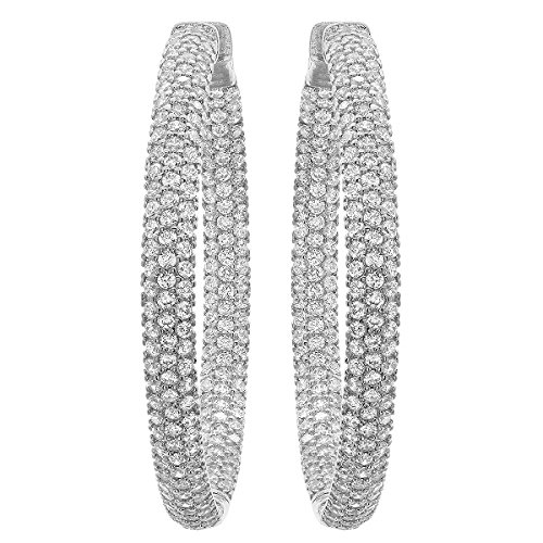 1.50 Inch Classic 3-Row Stunning White CZ Pave Hoop Earrings For Women