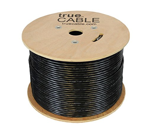 Cat5e Outdoor, 1000ft, Waterproof Direct Burial Rated CMX, Unshielded UTP, Solid Bare Copper Bulk Ethernet Cable, 350MHz, ETL Listed, Black, trueCABLE by trueCABLE