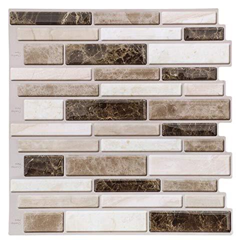 Peel and Stick Tiles for Kitchen Backsplash-Beige and Brown Tile Sticker Backsplash Kitchen,Stick on Tile for Backsplash(6 ()