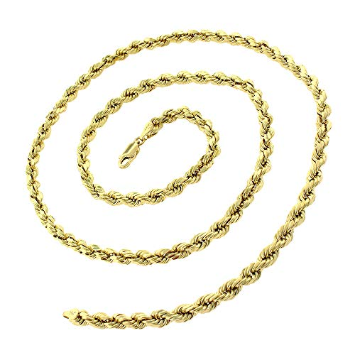 10K Yellow Gold 1.5mm - 5mm Solid Rope Diamond Cut Chain, FREE Microfiber Cloth, Link Necklace, Giorgio Bergamo