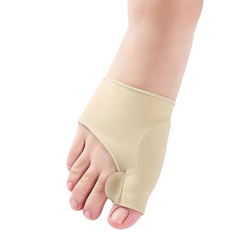 iiniim Pack of 2 Bunion Relief Sleeves Big Toe Straightener Corrector Pain Relief Pad with Gel Toe Separator (One Size, Nude Bunion Relief Sleeves)