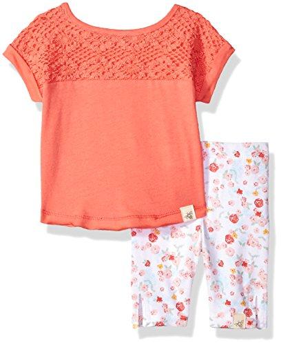 Burt's Bees Baby Baby Organic Tee and Capri Legging Set, Cactus Bloom Crochet, 12 Months (Crochet Yoke)