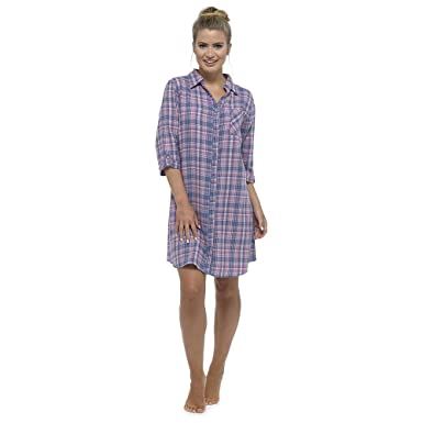 9f2f7e953b ThePyjamaFactory Ladies Foxbury Plaid Check Print Shirt Style Nightdress  Nighty Sleepwear LN383A (8-10