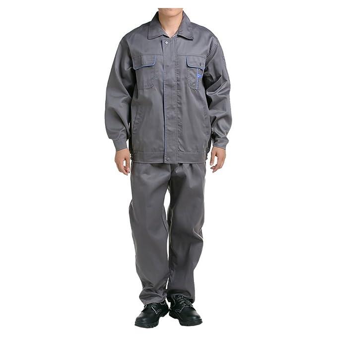 Gris con azul borde traje chaqueta de trabajo protección uniforme chaqueta soldador soldadura soldador ropa 190: Amazon.es: Ropa y accesorios