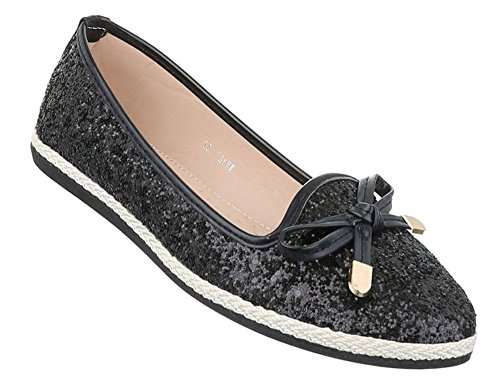 Damen Ballerinas Schuhe Flats Slipper Pumps Slip On Schwarz Gold 36 37 38 39 40 41 Schwarz