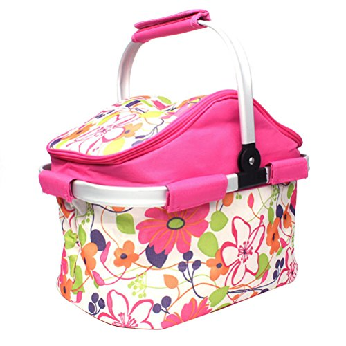 WINOMO Insulated Picnic Basket Lunch Bag Tote for Outdoor Picnic BBQ Holiday Parties (Pink)