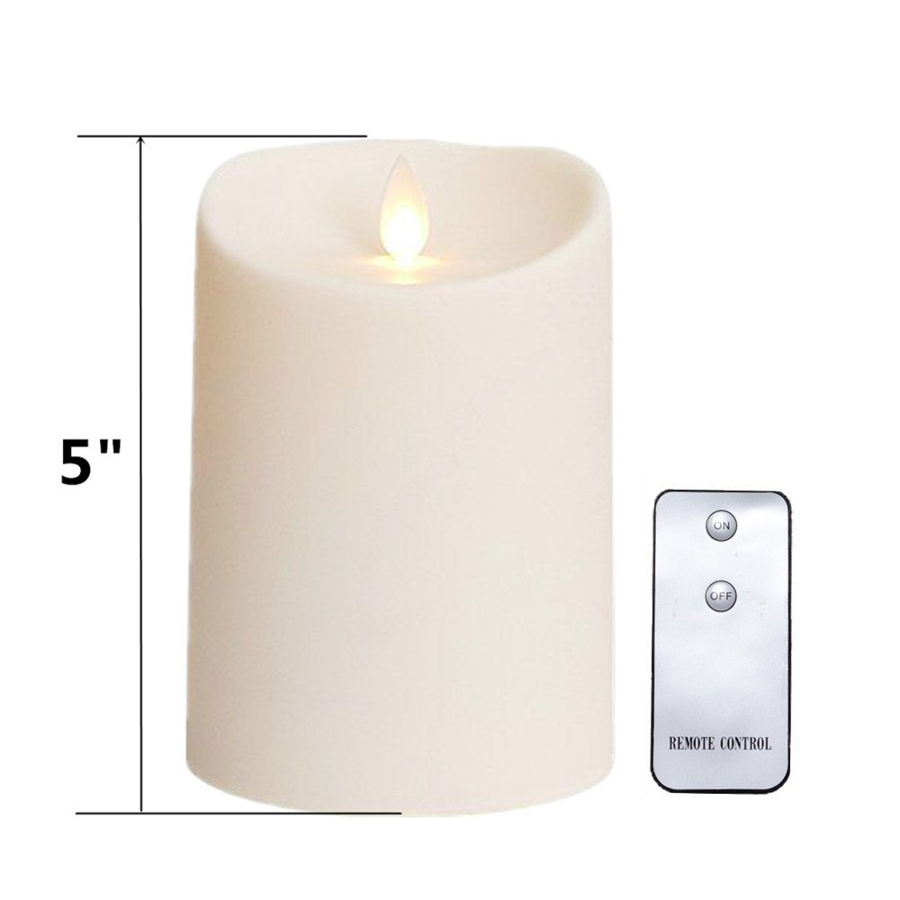 "NONNO&ZGF Outdoor Flameless Candles with Timer Waterproof Plastic Realistic Flickering Battery Operated LED Pillar Candles 3""x5"" with Remote"