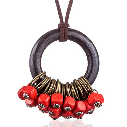Handmade Color Wood Beads Pendant vintage Long Necklaces for women Handmade Women Jewelry