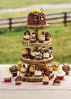 4 Tier Rustic Wood Slice Cupcake Stand   Wedding Cake Stand   Wooden Cake  Stand