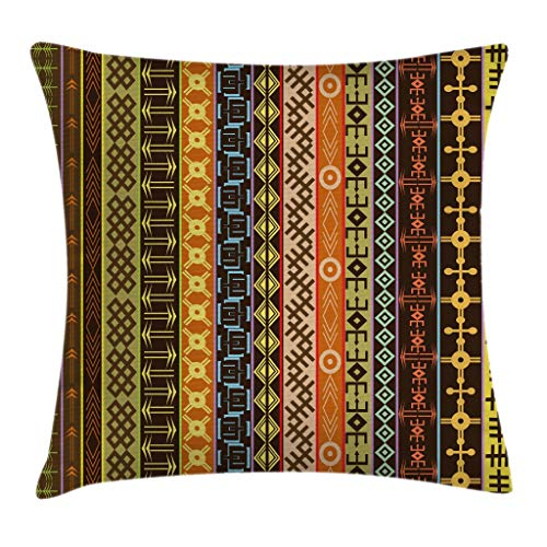 """Ambesonne Ethnic Throw Pillow Cushion Cover, Prehistoric Pattern Effects Geometric Lines Folk Culture Design Print, Decorative Square Accent Pillow Case, 16"""" X 16"""", Brown Green"""