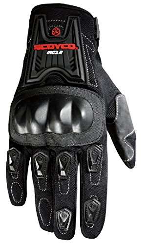 CRAZY AL'S MC12 Motorcycle Full-Finger Gloves with Hard Protector Sporty Anti-Slip Motorcycle Gloves for SCOYCO Black M/L/XL (M, Black)
