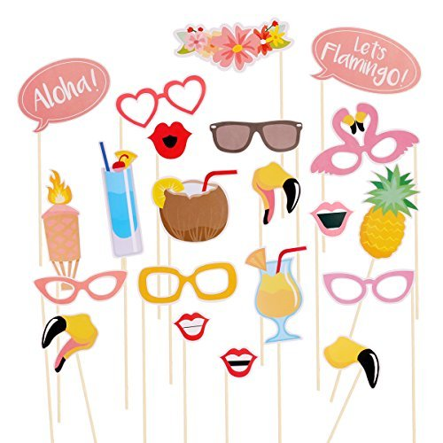Tinksky Hawaii Themed Summer Party Photo Booth Props Kit DIY Luau Party Supplies for Holiday,Wedding,Kids Birthdays,Beach parties,Summer Festivals,Pool parties-21pcs -