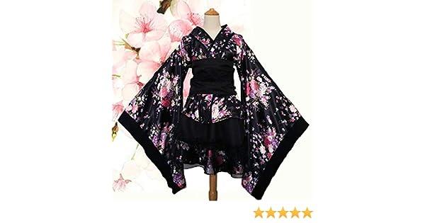 DUHLi Lolita Kimono Cosplay con Falda con Volantes, Flor Sakura Estampado Kimono Robe Yukata Vestido japonés, Cosplay de Mujer Lolita Disfraces Traje ...