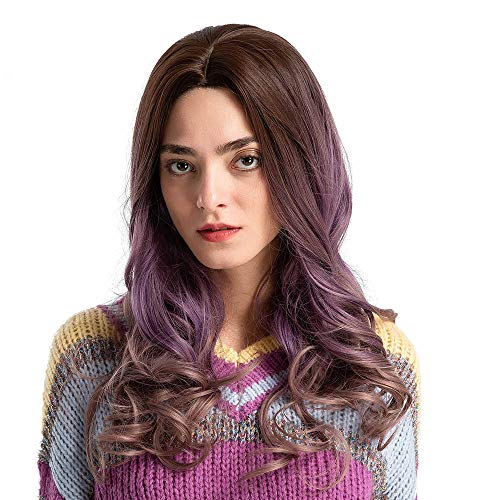 - Novel Purple Long Glueless Long Natural Wavy Middle Part Synthetic Lace Front Wigs + Free Wig Cap (22 inches, Purple)