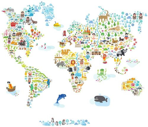 (Pop and Lolli Extra Large Iconic Cultural World Map Wall Decals)