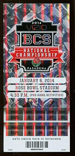 2014 BCS National Championship Game Full Ticket Auburn v Florida State NMT - National Tickets Game Championship