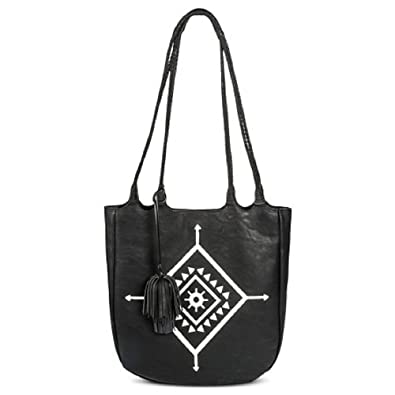 be8cc228ff4 Women s Braided Handle Tote Faux Leather Handbag Black - Mossimo ...
