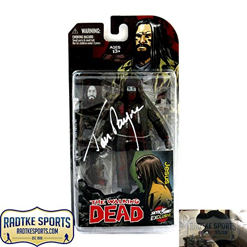 """Tom Payne Autographed/Signed The Walking Dead Paul """"Jesus"""" Monroe Black and White Action Figure"""